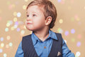 Boy with christmass lights bokeh Royalty Free Stock Photo