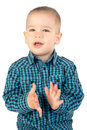 Boy clapping hands happy his Royalty Free Stock Photos