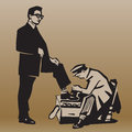 Boy cleans shoes to respectable man cleaning retro illustration Royalty Free Stock Photography