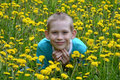 The boy on a clearing from dandelions happy teenager sits Royalty Free Stock Images