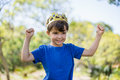 Boy clenching his fists in excitement Royalty Free Stock Photo