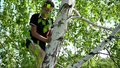 The boy climbed a tree. The guy is engaged in an extreme sport. Hot summer day, near a mountain river