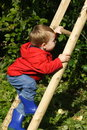 Boy Climbing Ladder Royalty Free Stock Photos