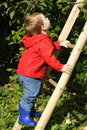 Boy Climbing Ladder Stock Images