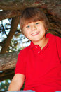 Boy climbing a tree Royalty Free Stock Photography