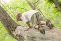 Boy climbing tree a in the forest Stock Photo