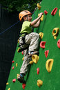 Boy on climbing wall Royalty Free Stock Photo