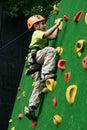 Boy on climbing wall Royalty Free Stock Photo