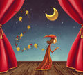 The boy collecting stars on stage illustration showing going with Royalty Free Stock Photos
