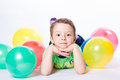Boy with colorful balloons Royalty Free Stock Photo