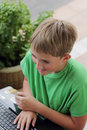 Boy on Computer Royalty Free Stock Images