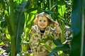 Boy in Cornfield Stock Photography