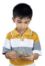 Boy counting the money with expression little Stock Image