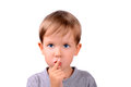 Boy covers up his mouth with finger closeup Royalty Free Stock Photo
