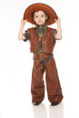 Boy in cowboy costume little happy on the white background Royalty Free Stock Photos