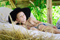 Boy in a cowboy hat Royalty Free Stock Photo