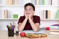 Boy day dreaming at school Royalty Free Stock Photo