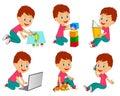 Boy different activity