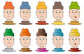 Boy in different mood set of heads moods Stock Image