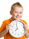 Boy displaying eight o clock time in studio isolated on white Royalty Free Stock Photos