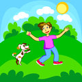 Boy and dog Stock Images