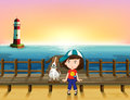 A boy a dog and a light house illustration of Stock Image