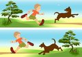 Boy and dog playing, cdr vector Royalty Free Stock Images