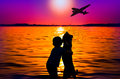 Boy and dog watching aircraft silhouette of at sunset Stock Photography