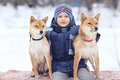 Boy and dogs in winter park Royalty Free Stock Photo