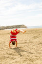 Boy doing handstand young is falling back after Royalty Free Stock Photography