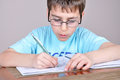 Boy doing homework young schoolboy his at home Royalty Free Stock Images