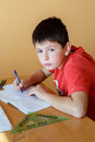 Boy doing school homework from mathematics in workbook Royalty Free Stock Image