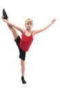 Boy doing vertical splits Stock Photo