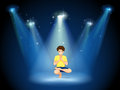 A boy doing yoga at the stage illustration of Royalty Free Stock Photography