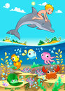 Boy and dolphin with fish unde the sea funny cartoon vector illustration Stock Photos