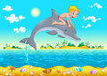 The boy and the dolphin in the sea cartoon vector illustration isolated objects Royalty Free Stock Photos