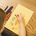 image photo : Boy drawing.
