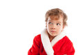 Boy dressed as Santa Claus, isolation Stock Photos