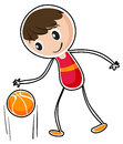 A boy dribbling a ball illustration of on white background Stock Image