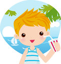 Boy drink in beach Stock Photo