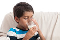 Boy drinking milk Royalty Free Stock Photo