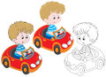 Boy driver little riding in a red toy car three versions of the illustration Royalty Free Stock Photography