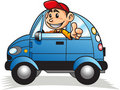 Boy driving car 02 Stock Photography