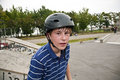 Boy with drop of sweat in face from bike and bmx driving Royalty Free Stock Photos