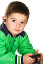 Boy with earpiece Stock Photography