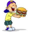 Boy eating burger