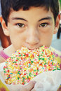 Boy Eating Giant Cookie Royalty Free Stock Photo