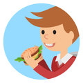 Boy eating sandwich. Vector illustration on theme fast food.