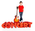 Boy with electric guitar with 3d text Stock Image