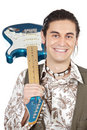 Boy with electrical guitar Stock Photos